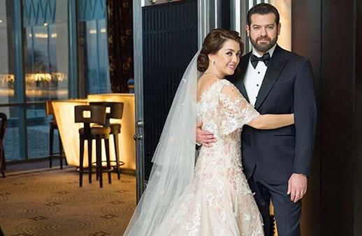 في زفافهما، كندة علوش وعمر يوسف بتوقيع مصممين لبنانيين!